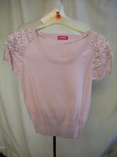 "Ladies Top Petite UK 12 powder pink fine knit w/lace, bust 34"", length 21"", 1065"