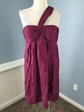 BCBG Maxazria Purple One Shoulder Cocktail Dress M Excellent 100% Silk