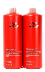 2 Wella Professionals 33.8 Oz Brilliance Fine To Normal Colored Hair Conditioner