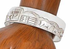 VTG Navajo Artist Jacob Kahe Storyteller .925 Sterling Silver Cuff Bracelet