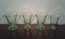 ANCHOR HOCKING BLOCK OPTIC GREEN 4 PIECES 2 SUGAR BOWLS CREAMER AND JUICE GLASS