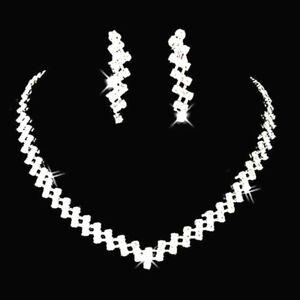 Sparkling Silver Wedding Bridal Crystal Diamante Rhinestone Necklace Earring Set