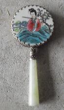 """Vintage Ornate Hand Painted Japan Woman Hand Held Pocket Mirror 2 1/4"""" Wide"""
