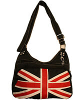 Black Blue Union Jack Flag Passport Shoulder Messanger Cross Body Side Bag