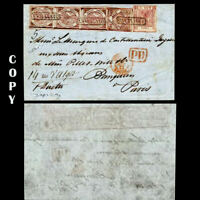 ITALY 1858 COVER TO PARIS TRIP 50GR AND 20GR ANNULATO NAPLES,$90000.Copy