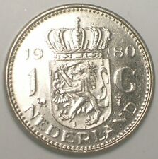 1980 Netherlands Dutch One 1 Gulden Juliana Coin XF+