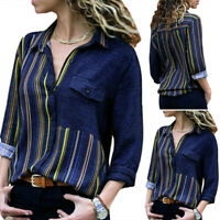 VONDA Women Striped Button Down Blouse Shirt Long Sleeve Casual T-Shirt Top Tee