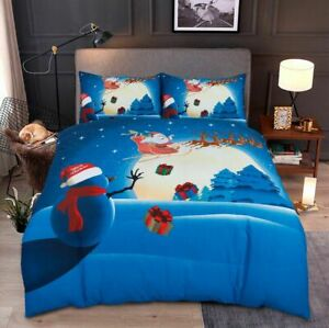 Christmas Hot selling Duvet Cover Snow Man UK Bedding Set with Pillow Case
