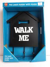 Pet Leash Holder with Hooks Walk Me Plaque Dog Sign Coat Hooks