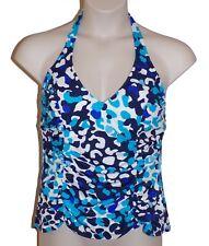 Caribbean Joe Blue Shirred Halter Tankini Top Size 18 Swimsuit