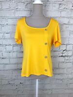 Dorothy Perkins Womens Mustard Yellow Short Sleeve Thin Summer Top Size 18