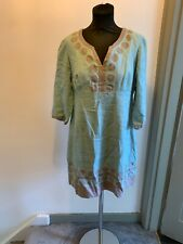 Boden Embroidered Circle Design Linen Tunic Dress Top Size 14P