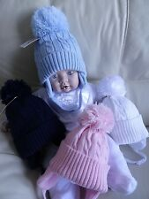 Baby Boy Girl Blue White Pink Navy Cable Knit Fleece Lined Pom-Pom Hat 6-12-18m