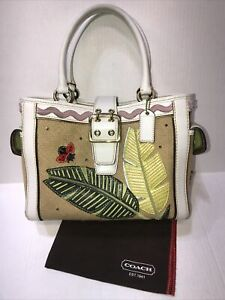 Authentic Coach Ladybug Burlap/Leather Tote With Duster