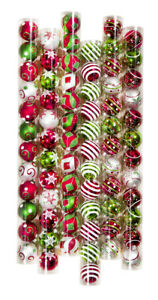 12 Decorated Red/Green/White Shatterproof Ball Ornament - 2.3in