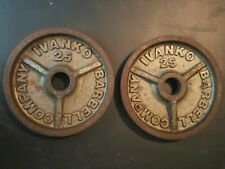 Ivanko 25lb Olympic size weight plates pair weights used vintage 25 lb