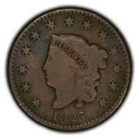 1827 1c Coronet Head Large Cent - Better Date - Mid--Grade Coin - SKU-Y2371