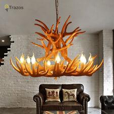 9 Head with 9 Lights Deer Antler Horn Retro Resin Candle Chandelier Lamp