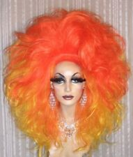 Drag Queen Wig Big Double Yellow and Orange Flame Long Tall Curls Teased Out