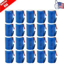 20pcs NiCd 4/5 SubC Sub C 1.2V 2200mAh Rechargeable Battery With Tab Blue USA