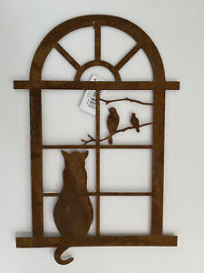 Rustic Metal 'Cat At The Window' Wall Art Garden Decoration Rusty Finish Indoor