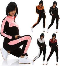 Damen Jogginganzug Hausanzug Fittnes Sport Anzug mit Zipp und Print