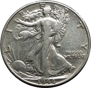 1944 WALKING LIBERTY Half Dollar Bald Eagle United States Silver Coin i44692