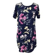 Flora by Flora Nikrooz Small Pajama Dress Nighgown PJs Navy Floral Stretch Lace