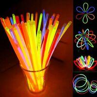 "New Wholesale 8"" Glow Light Sticks Bracelet Necklace Multi Colorful Neon Party"