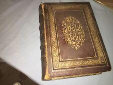 1870's LEATHER ANTIQUE DEVOTIONAL FAMILY BIBLE  by ALEXANDER FLETCHER