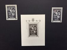 Croatia stamps, 1943/1944 mini sheet and 2 stamps and J.Ritter Perf. 14 1/2