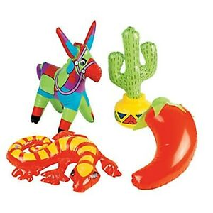 (4) INFLATABLE MEXICAN FIESTA DECORATIONS Fiesta Party Favours 4 Assortment