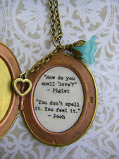 Pooh quote Friendship locket how do you spell love oval flower and key locket