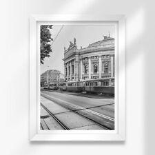 More details for a3 white framed prints - bw - tram vienna austria travel 42x29.7cm #38198