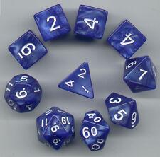 NEW RPG Dice 10pc - Pearl Blue - 1 @ D4 D8 D10 D12 D20 D00-10 & 4 D6