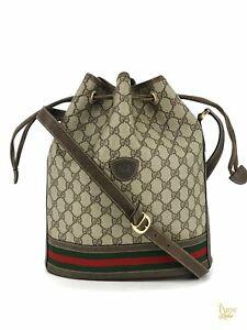 GUCCI Beige GG Web Supreme Vintage Ophidia Striped Drawstring Bucket Bag