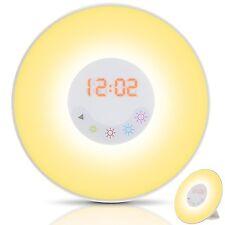 Wake Up Light Alarm Clock 5 Colors Sunrise Simulation FM Radio Nature sound USB