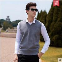 Men Soft Sweater Knitted Vest Warm V Neck Sleeveless Pullover Tank Top Waistcoat