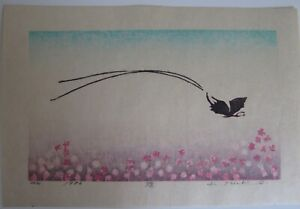 Japanese Woodblock Print - K. Mieko - Butterfly and flowers  1983 EDITION