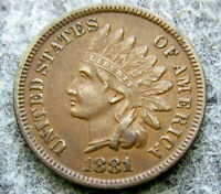 UNITED STATES 1881 CENT INDIAN HEAD, BETTER GRADE