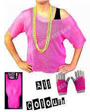 80s Mesh Top, Beads, Leg Warmers & Short Mesh Gloves Deal (2) - Various Colours