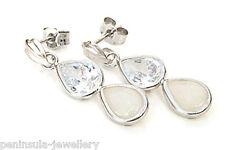 9ct White Gold Opal Teardrop earrings Gift Boxed