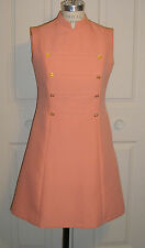 Authentic Vintage Custom Made 1960 Fitted Orange Daytime Dress With Provinance