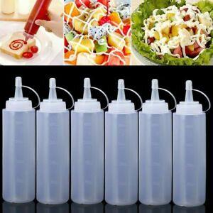 6Pcs Plastic Clear 8oz Squeeze Bottle Condiment Dispenser Mustard Sauce Ketchup