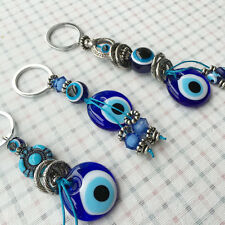 Turkish Evil Eye Keychain Ring Good Luck Handmade Glass Charm Bag Kabbalah Nazar