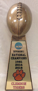 "15"" CLEMSON UNIVERSITY TIGERS 2018 NCAA NATIONAL CHAMPION FOOTBALL TROPHY"