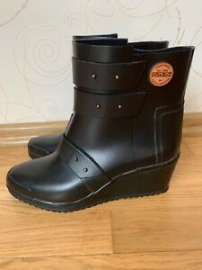 Nokian Natural Rubber Boots Strap Wedge Handmade In Finland Black Size US 9 EU40