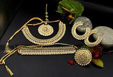 New Indian Pakistani Bollywood Bridal Gold Necklace Choker Earring Jewellery Set