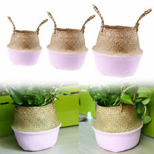 Natural Seagrass Woven Pot Garden Flower Hanging Basket With Handle Storage