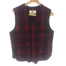Woolrich Men's Wool Red Black Buffalo Plaid Lumberjack Front Zip Vest Medium